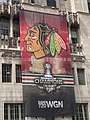 Blackhawks WGN banner at Tribune Tower (9164078272).jpg