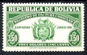 Consularization - A Bolivian revenue stamp of 1951 to collect the fee on consular invoices.