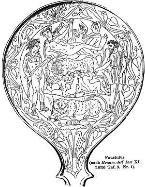She-wolf (Roman mythology) - Image: Bolsena mirror Roscher Lexikon p 1465