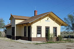 The old Boone Santa Fe Railroad depot that now serves as the town hall.