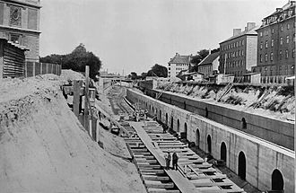 Boulevard Line - Construction of the Boulevard Line between Sølvgade and Stokhusgade in 1914
