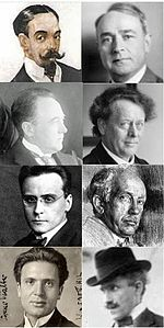 panel of eight small photographs of men's portraits dating from the decades around 1900