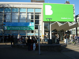 Bradford College - The Westbrook Building at Bradford College in November 2007. This entrance was demolished in 2012.