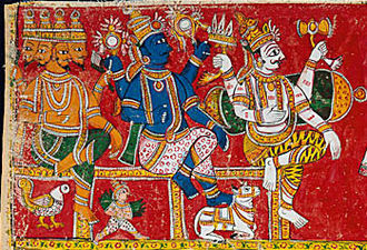 Trimurti - Trimurti, painting from Andhra Pradesh