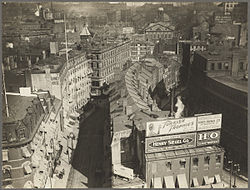 Overview of future site of City Hall, showing Brattle St., Cornhill, and small portion of Faneuil Hall in background, ca.1920