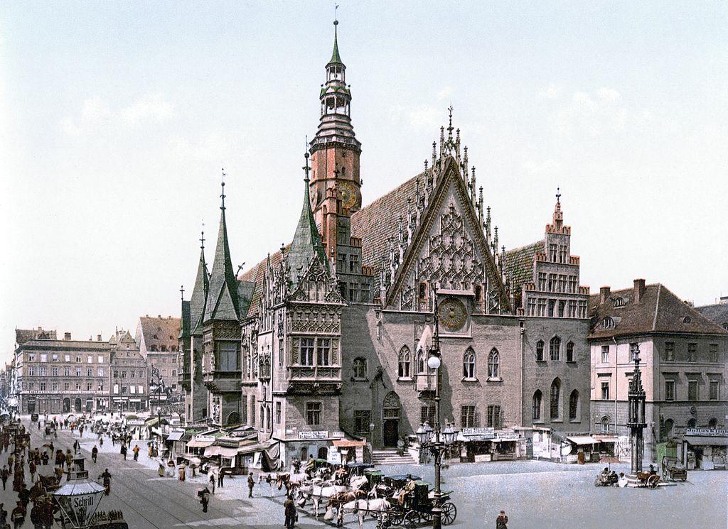 Hotel de ville de Breslau (futur Wroclaw) vers 1900.