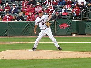 Brett Eibner - Eibner pitching for the Arkansas Razorbacks in 2009