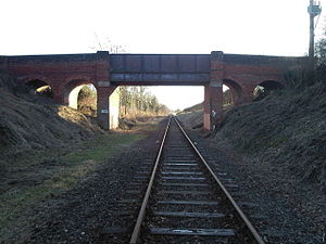 Mid-Norfolk Railway - Bridge 1692, partially rebuilt for double track, showing 1965 to present day singled line.