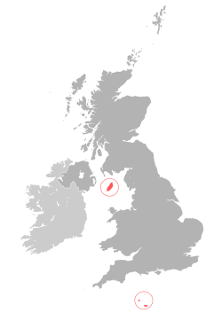 Locating both The Isle of Man in the Irish Sea, and the Channel Islands in the English Channel