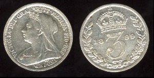 Threepence (British coin) - Victoria threepence 1899