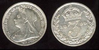 Threepence (British coin) - Victoria threepence 1899