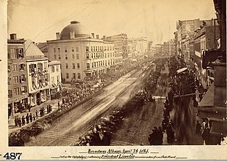 Broadway in Albany during the funeral ceremonies for Abraham Lincoln (1865) BroadwayAlbanyLincoln.jpg