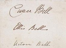 Brontë sisters' signatures as Currer, Ellis and Acton Bell.jpg