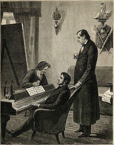К. Брюллов, М. Глинка и Н. Кукольник. Гравюра с рисунка П.А.Каратыгина, сделанного с натуры в 1842 году.