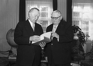 Ordoliberalism - Ludwig Erhard with Konrad Adenauer in 1956, while Erhard was Minister of Economics.