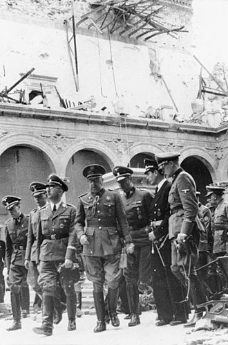 Siege of the Alcázar - General Moscardó showing Heinrich Himmler the ruins of the Alcázar, October 1940