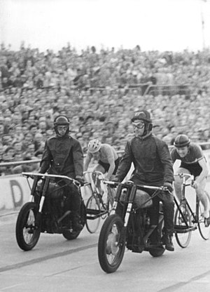 Lothar Meister - Lothar Meister (right) behind his pacer in 1958
