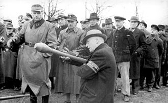 Volkssturm - February or March 1945: Volkssturm members being trained to use the Panzerfaust anti-tank weapon.