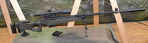 Accuracy International AWM - AWM-F or G22 in Bundeswehr nomenclature with attached suppressor.
