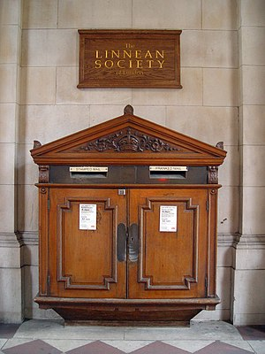 Post box - A wooden wall box in Burlington House, London.