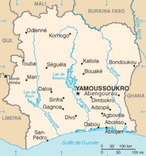 Fildişi Sahilleri haritası