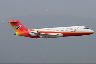 Comac ARJ21 - ARJ21-700 in flight at the Zhuhai Air Show (2010).