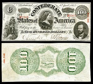 George W. Randolph - Image: CSA T56 $100 1863 (inverted back)