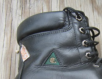 Steel-toe boot - (CSA) green triangle and orange electrical safety tags