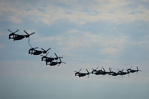 CV-22 Osprey fly in formation over Hurlburt Field (31977457374).jpg