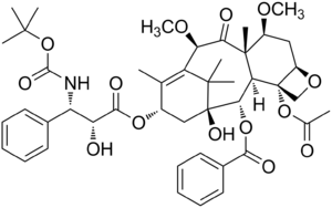 English: Chemical structure of cabazitaxel (TX...