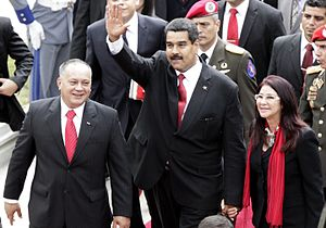 Crisis in Venezuela (2012–present) - Diosdado Cabello beside Nicolás Maduro and his wife, Cilia Flores