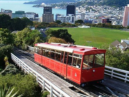 Wellington Cable Car, view from Kelburn Cable Car, Wellington, New Zealand.JPG