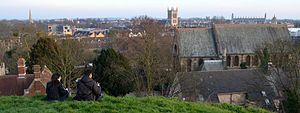 St Giles' Church, Cambridge - View of St Giles' from castle mound