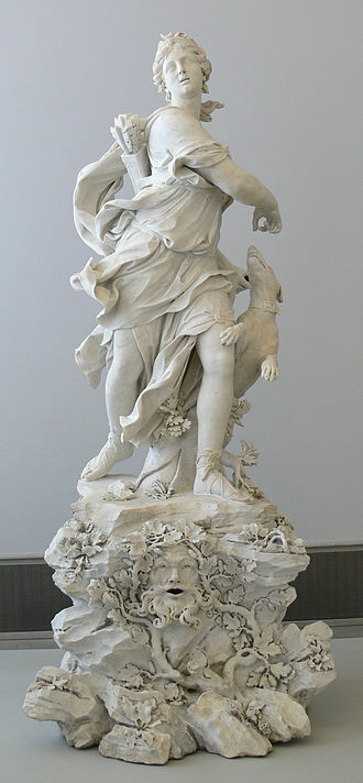 Diana (mythology) - Diana as Huntress. Marble by Bernardino Cametti, 1720. Pedestal by Pascal Latour, 1754. Bode Museum, Berlin.