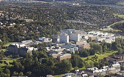 View of the NTNU Gløshaugen from the air