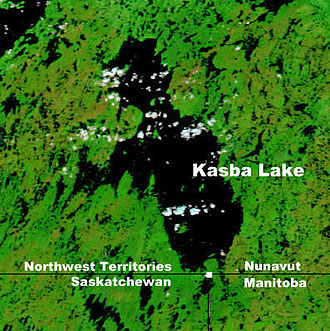 Four corners (Canada) - NASA map showing Kasba Lake and the four corners