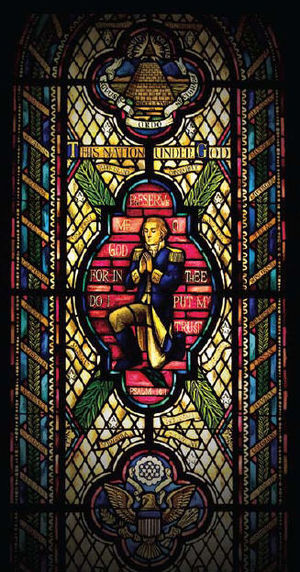 Chaplain of the United States House of Representatives - Stained glass window of George Washington in prayer, Capitol Prayer Room