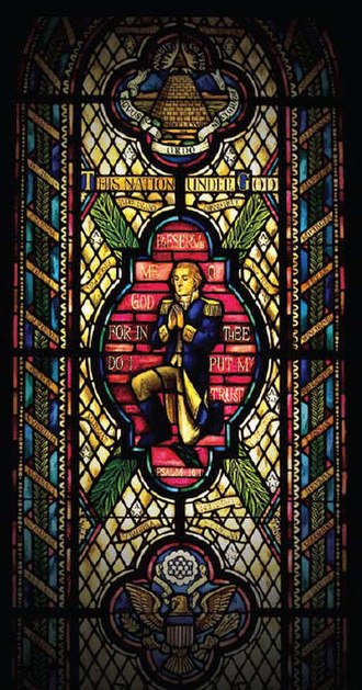 Chaplain of the United States Senate - Stained glass window of George Washington in prayer, Capitol Prayer Room