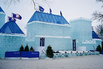 Ice sculpture - An ice castle during the Quebec Winter Carnival of 2009