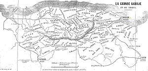 Carte de la Grande Kabylie en 1857.