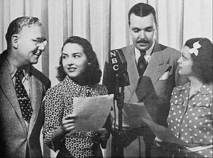 "Life Can Be Beautiful - The cast in 1940 from left: Ralph Locke (""Papa David"" Solomon), Mitzi Gould (Rita), John Holbrook (Stephen Hamilton), Alice Reinhardt (""Chichi"" Conrad)"
