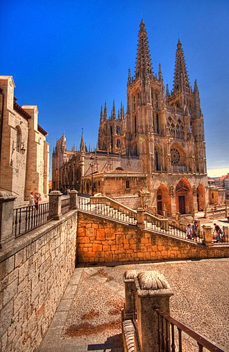 Burgos Cathedral - Facade of Saint Mary with surrounding.