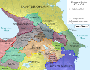 Georgia and the Caucasus around 900 Caucasus 900 map de.png
