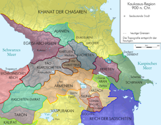 Artsakh (historic province) - Political map of the Caucasus c. 900.