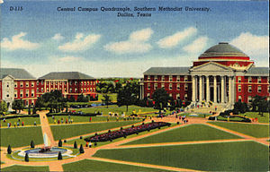 Southern Methodist University - Central Campus Quadrangle, Southern Methodist University (postcard, circa 1915–1924)