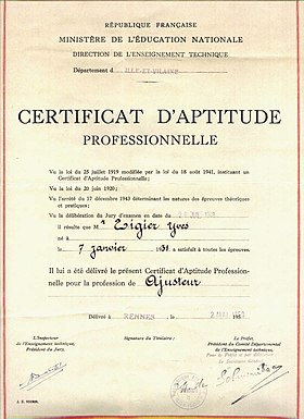 Image illustrative de l'article Certificat d'aptitude professionnelle