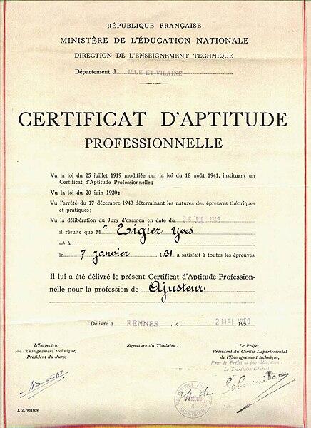 File Certificat D Aptitude Professionnelle 1950 Rennes