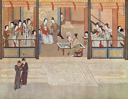 Spring morning in a Han palace, by Qiu Ying (1494-1552); excessive luxury and decadence marked the late Ming period, spurred by the enormous state bullion of incoming silver and by private transactions involving silver. Ch'iu Ying 001.jpg
