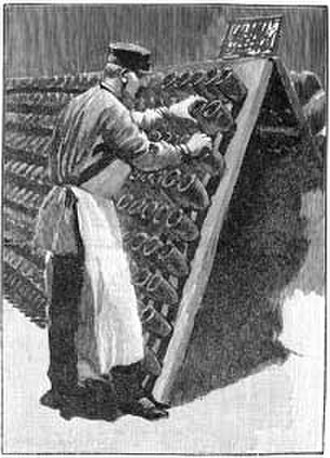 Champagne - Le Remueur: 1889 engraving of the man engaged in the daily task of turning each bottle a fraction