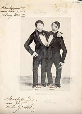 Chang and Eng the Siamese twins, one holding a book. Lithograph Wellcome V0007364.jpg
